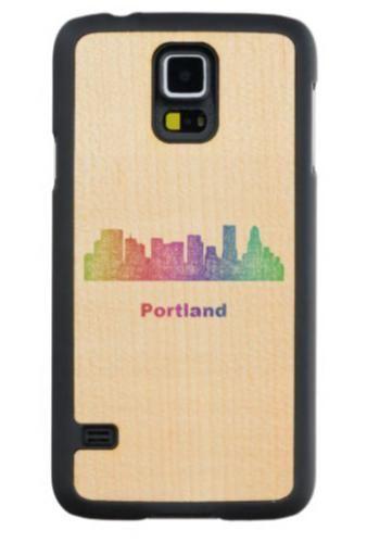 Rainbow Portland skyline Maple Galaxy S5 Slim Case $49.65