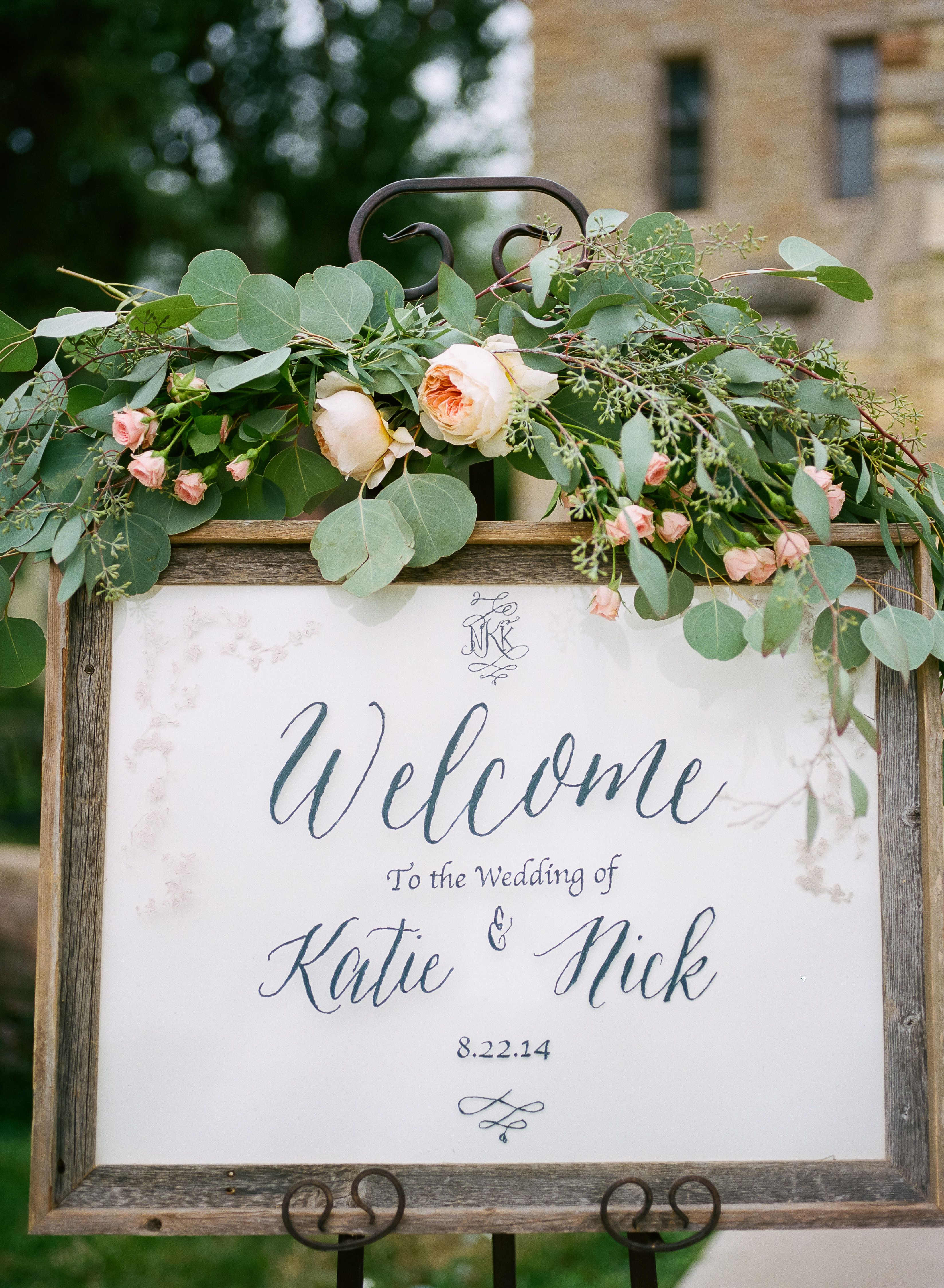 simple outdoor wedding ideas for summer%0A DIY Framed Welcome Sign with Eucalyptus and Garden Rose Decor  Wedding  Centerpieces