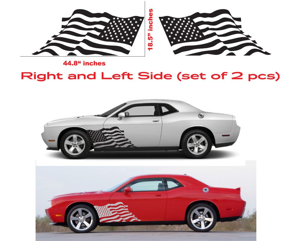 American usa flag dodge challenger hellcat srt decal vinyl side door graphics oracal