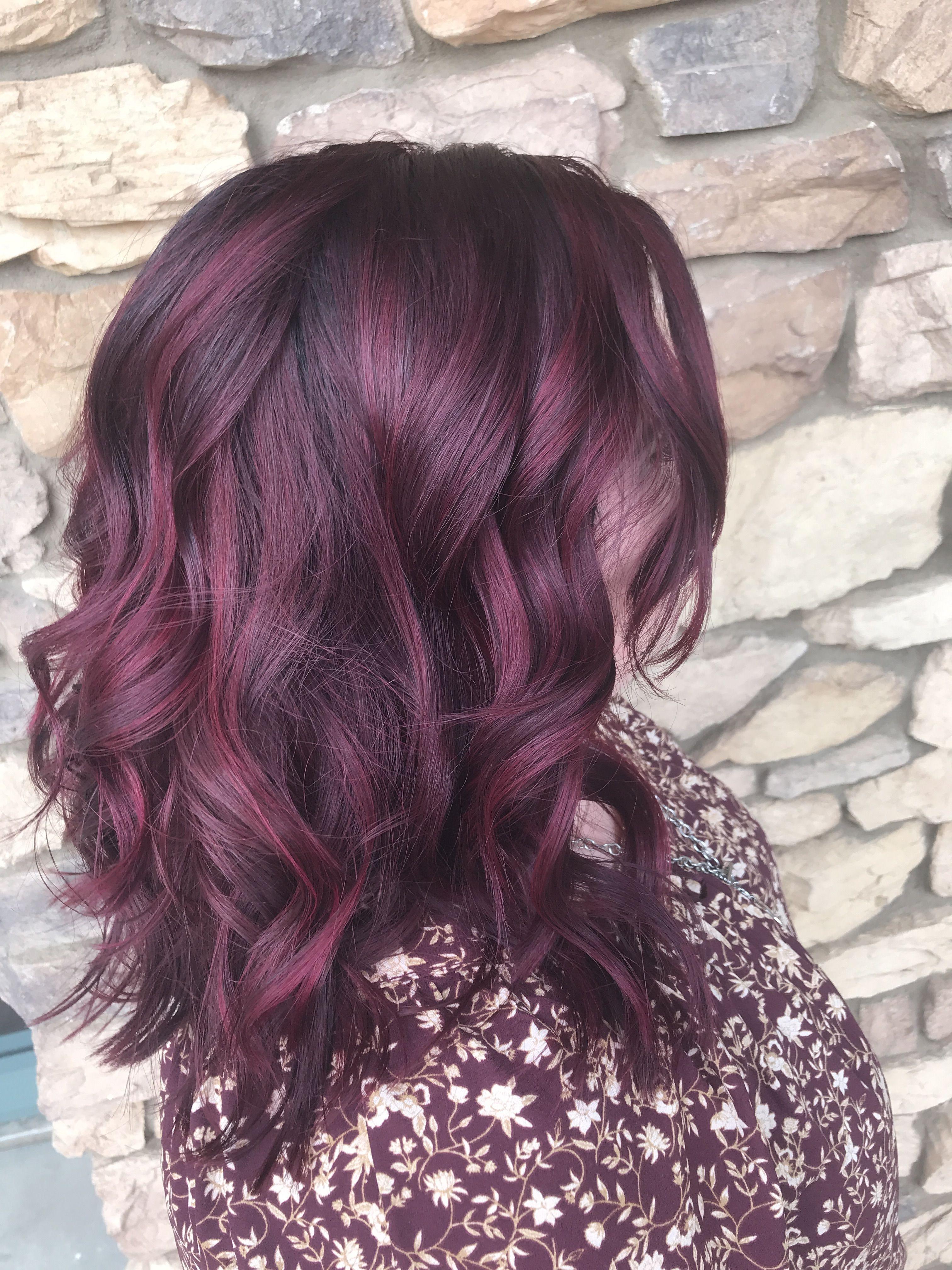 Medium Length Magenta Balayage Red Hair Color Deep Red Hair Deep Red Hair Color