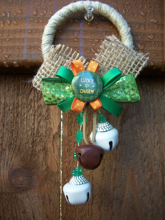 st patricks day lucky charm door hanger door knob by badcatcraft