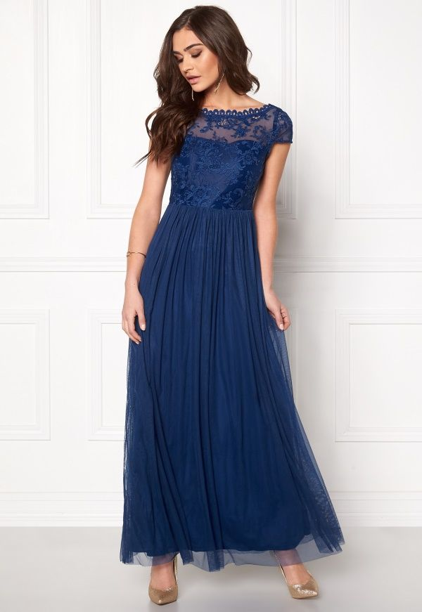 Blue Vila Ulricana Dress Bubbleroom Maxi Kjoler Estate Ss SSOXxqwpT
