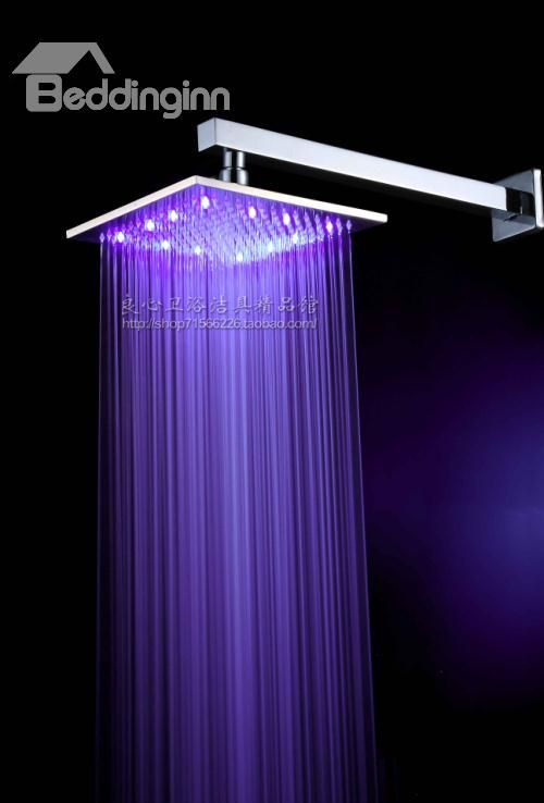 10 Inch Led Lighting Rainfall Shower Head Faucet Changing Color By Temperature Led Shower Head Rainfall Shower Rainfall Shower Head