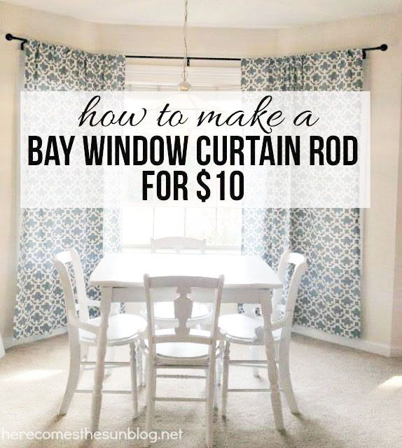 Diy Bay Window Curtain Rod For Less Than 10 Diy Bay Window Curtains Bay Window Curtain Rod