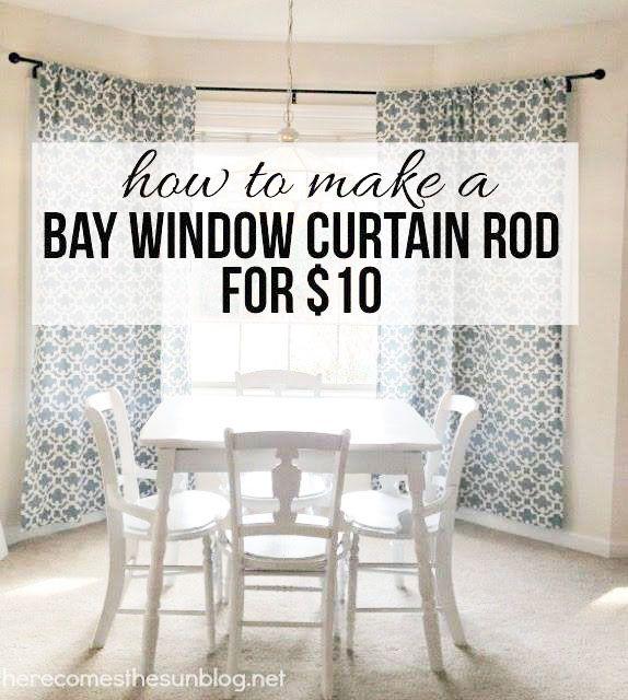 diy bay window curtain rod diy bay