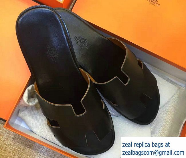 59b0f951ba56 Hermes Calfskin Oran Men  s Slipper Sandals Black Hermes Oran