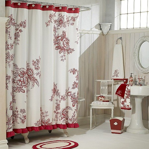 Vintage Style Country Bathroom In Red And White Vintage Shower