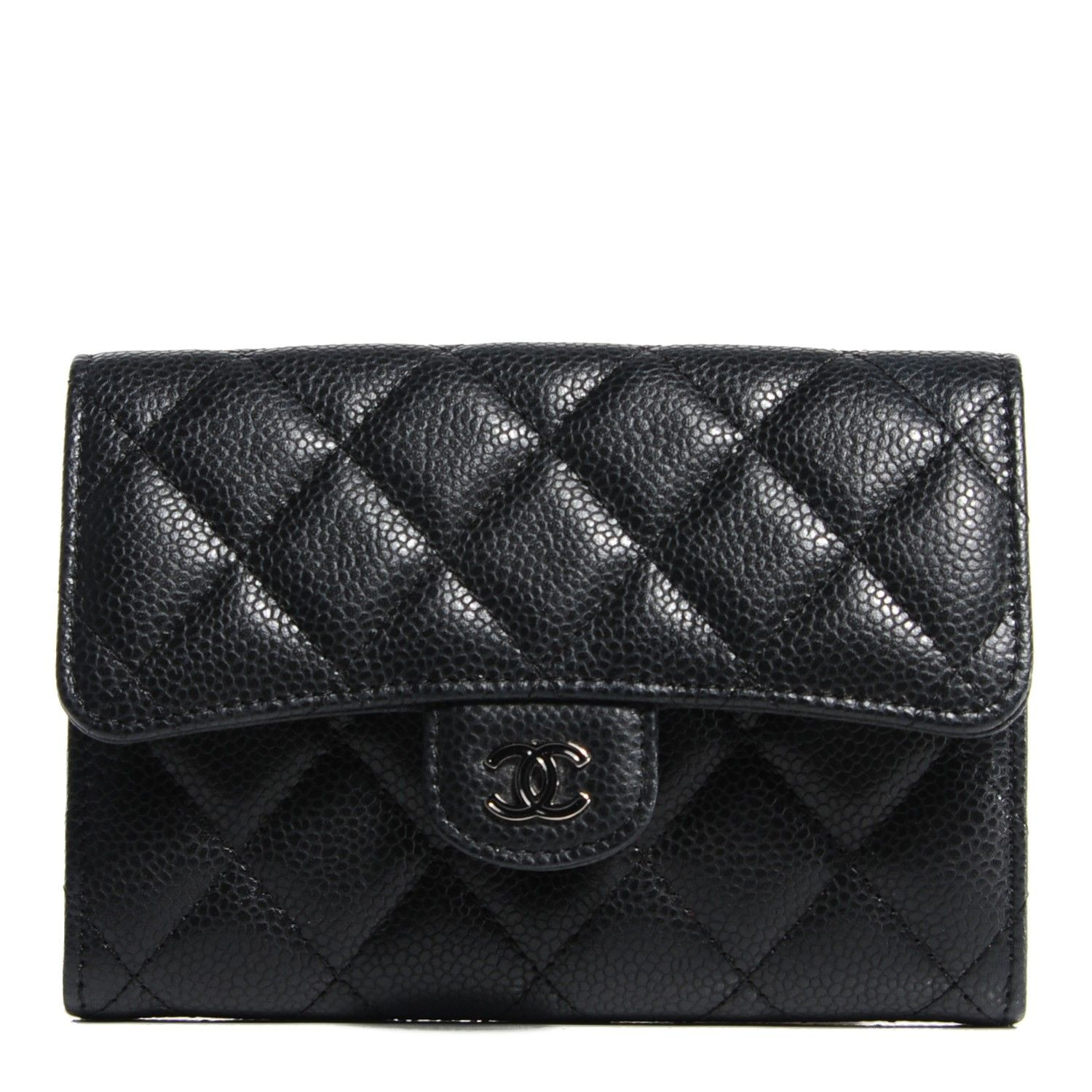 CHANEL Caviar Quilted Small Flap Wallet Black Chanel