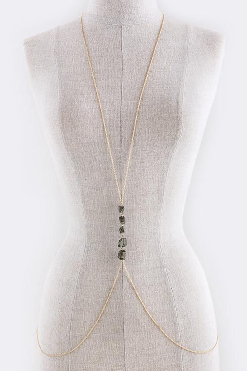 Aligned Stone Accent Body Chain