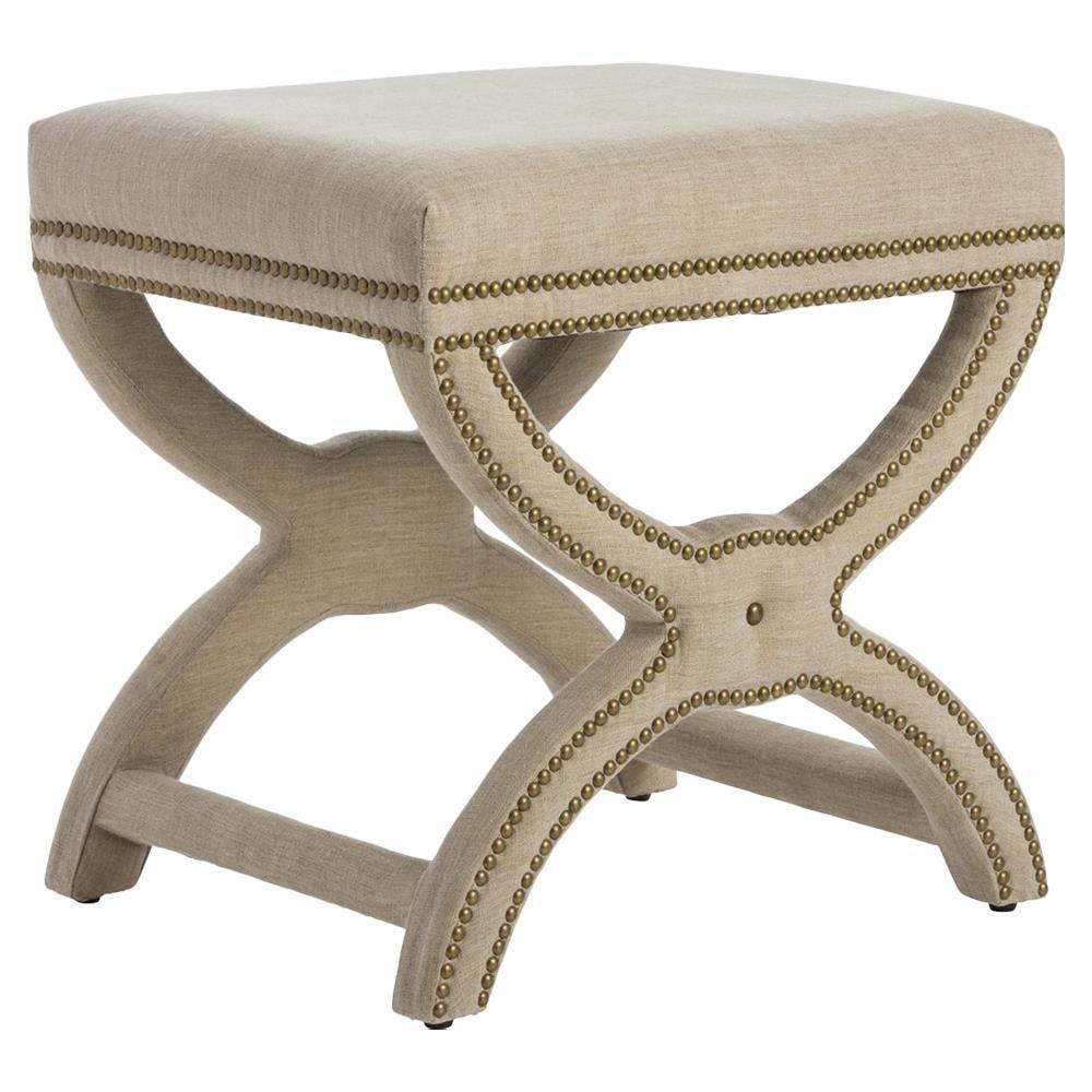 Roan Modern Classic X Base Stool - Beige Linen | Kathy Kuo Home
