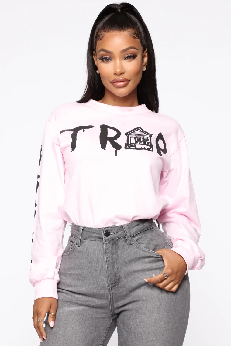 Trap House Ls Top Pink Fashion Nova Outfits Denim Style Casual Lookbook Outfits