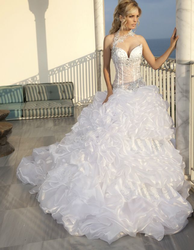 A sexy princess gown with a sheer bodice and full skirt | Princess ...