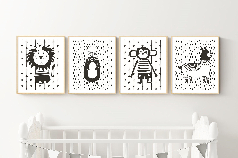 Scandinavian Bedroom Nursery Print Black /& White Kids Only Print