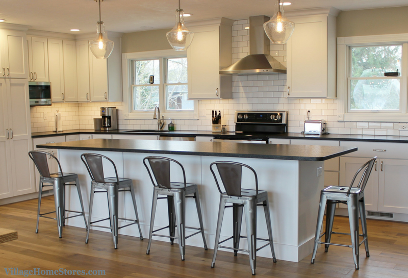 Kitchen Experts Rock Backsplash Farmhouse Painted White Remodeled By Quad Cities Village Home Stores Villagehomestores Com