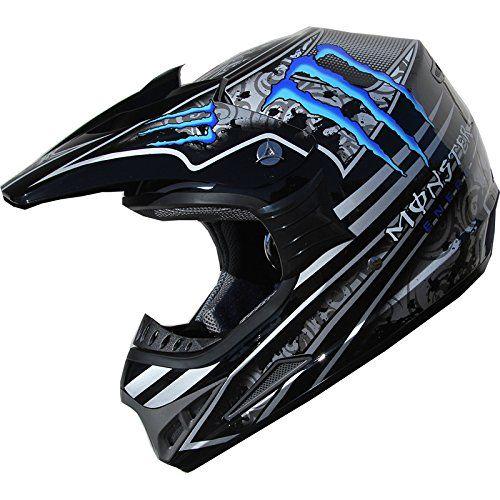 Dot Dirt Bike Atv Motocross Helmet Monster 162 Blue Black L