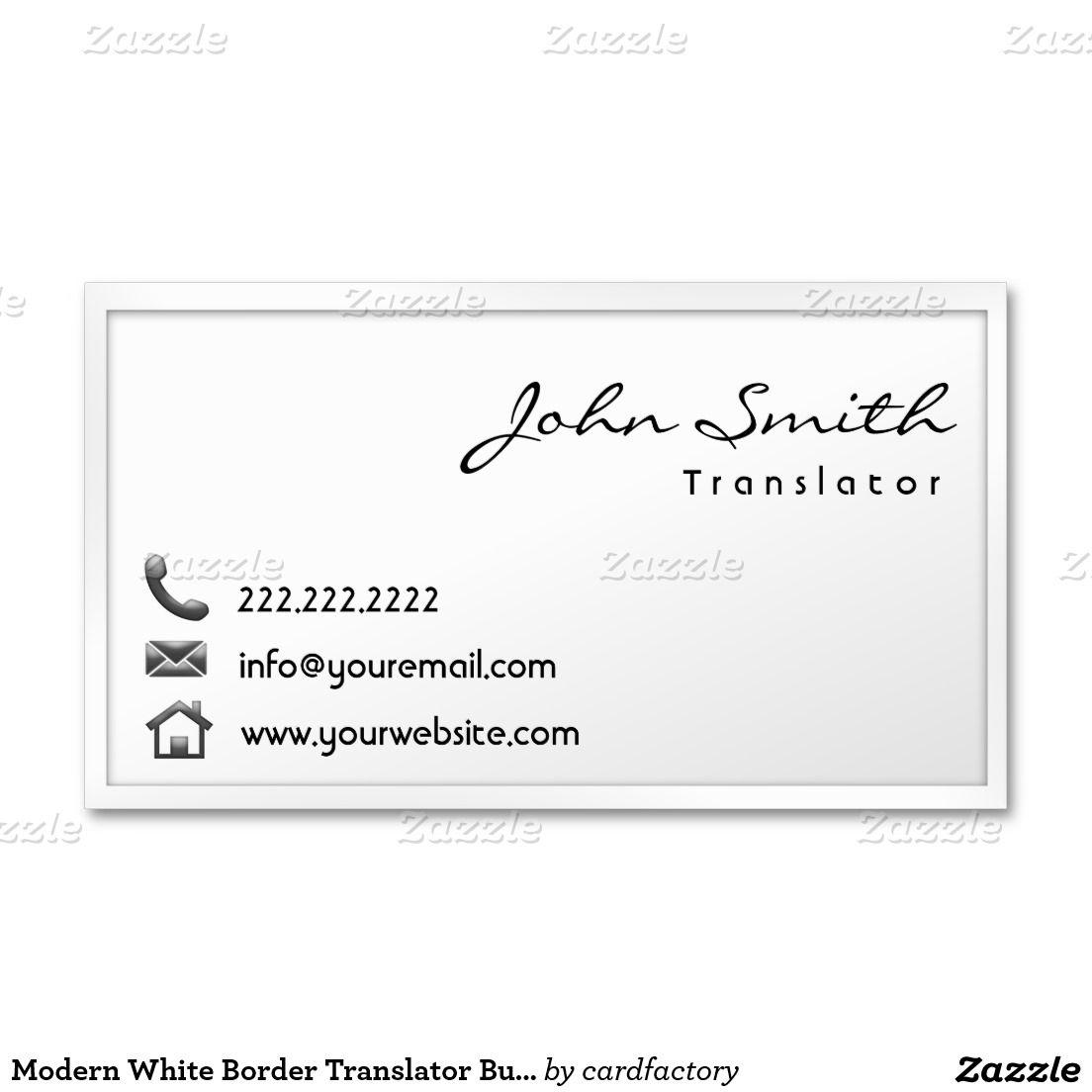 Carte De Visite Blanc Moderne Traducteur Fro