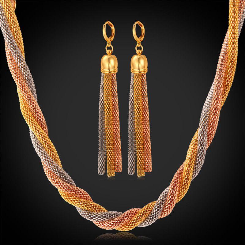 African Costume Jewelry Set For Women Tassel Long Drop Earrings
