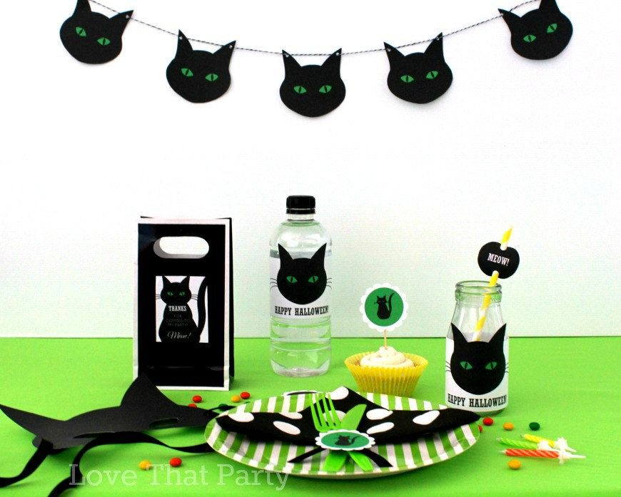 Black CAT HALLOWEEN DECORATIONS, Black Cat Party, Printable Halloween Decorations, Kids Halloween Party, Cute Halloween, Banner, You Print by LoveThatPartyInvites on Etsy
