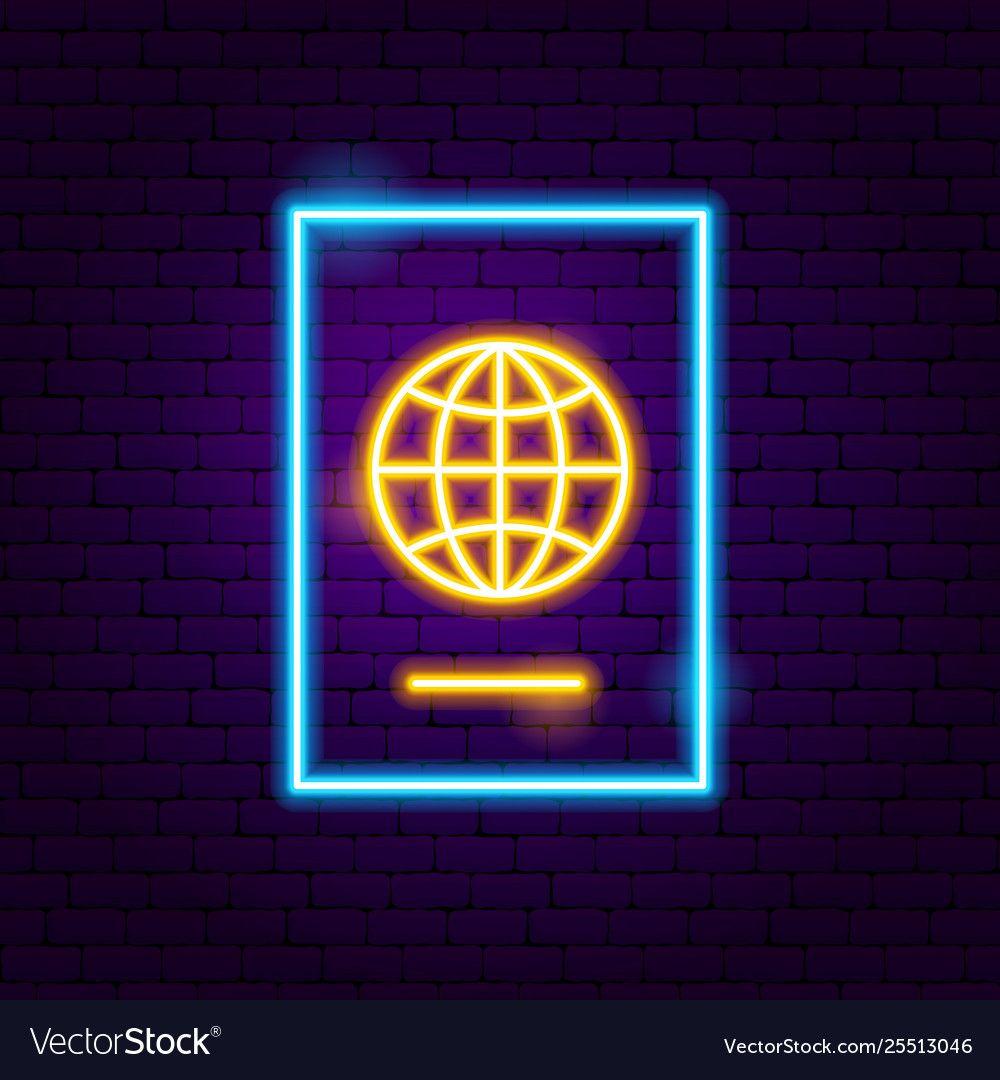 Passport neon label Royalty Free Vector Image