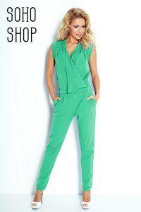 Kombinezon Z Zakladanym Dekoltem Numoco Pistacja 6344261285 Oficjalne Archiwum Allegro Fashion Jumpsuit Blue Dresses