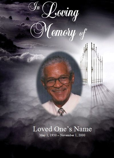 Heaven Single Fold Memorial Program Microsoft Word Program