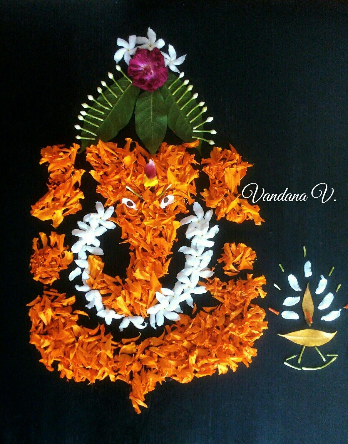 My Creation On Floor Goddess Decor Rangoli Designs Flower Ganapati Decoration