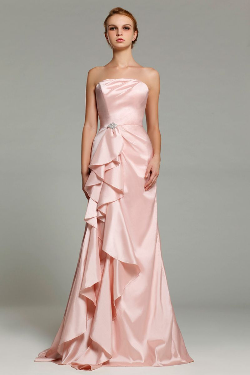 A-Line Strapless Pink Elastic Woven Satin Floor-Length Bridesmaid ...