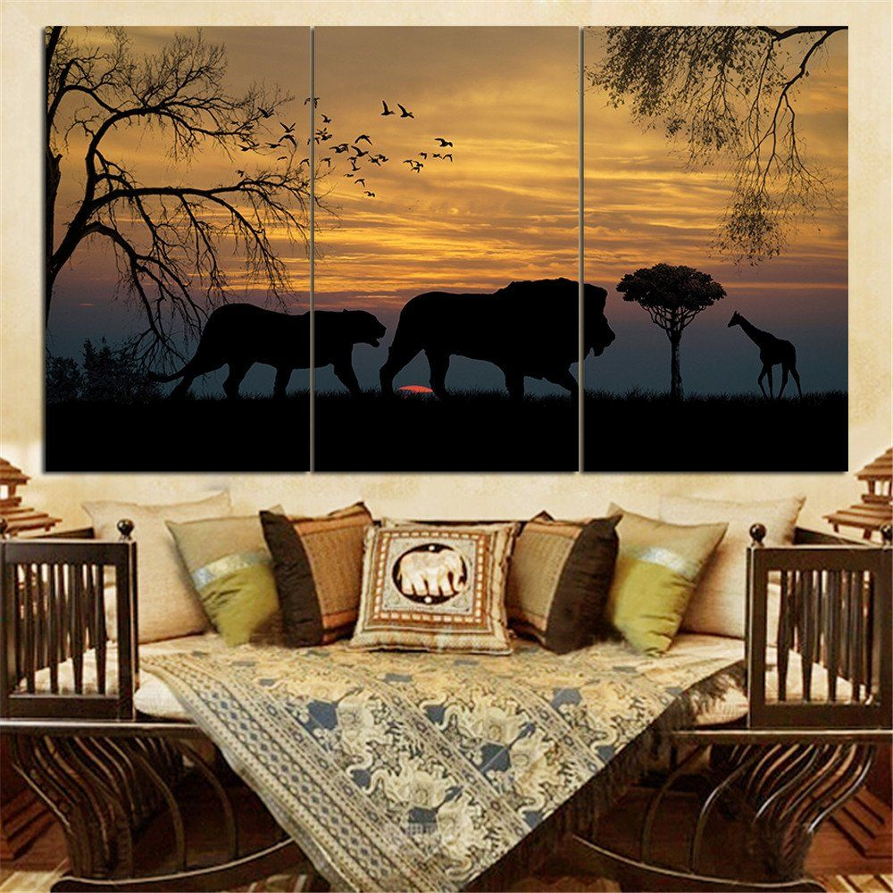Paintings For Living Room Walls 3 Piece Canvas Art Lion King Picture Print On Canvas Painting Wall