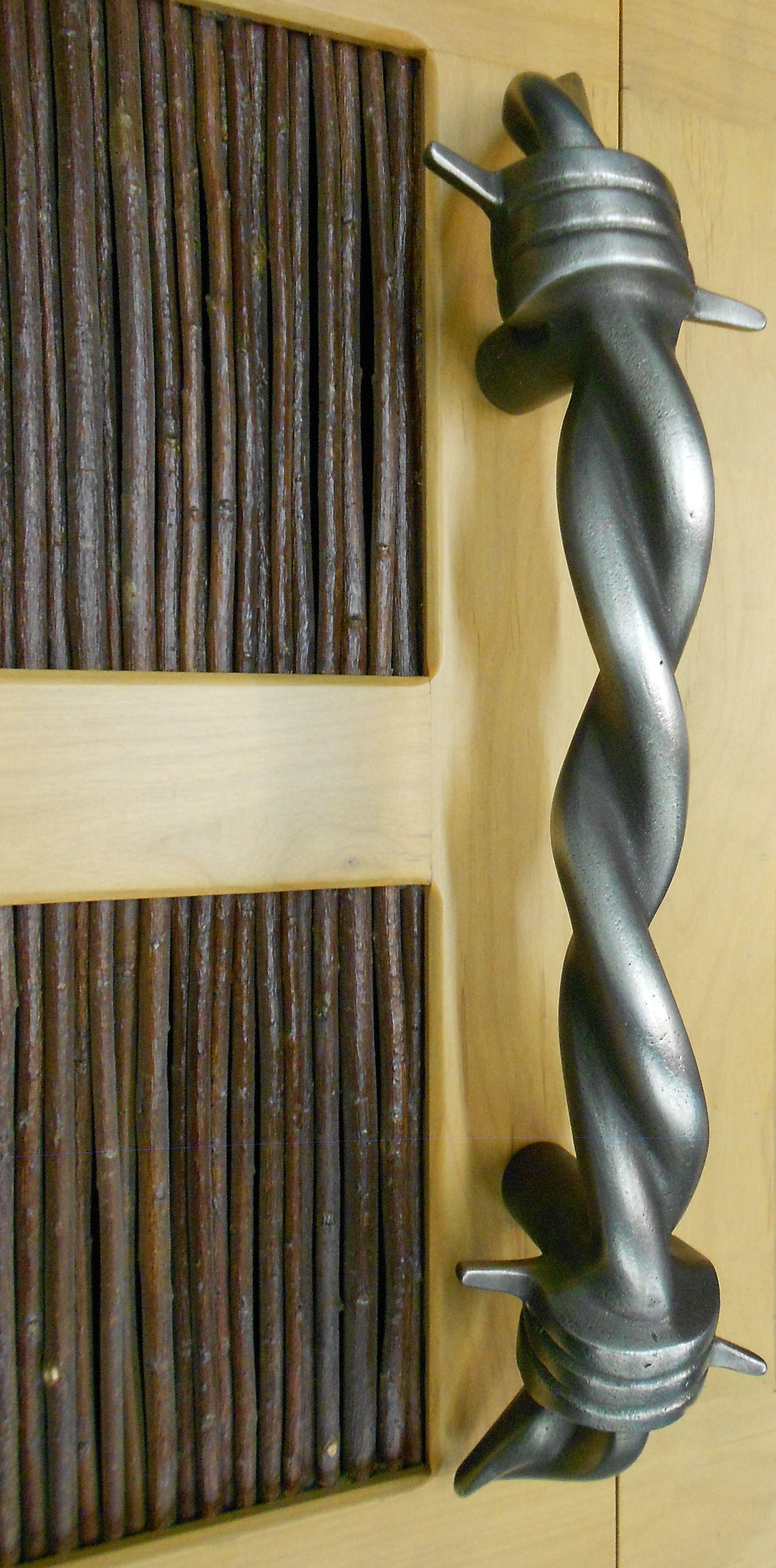 barbed wire door handle cast white bronze antiqued shot peened