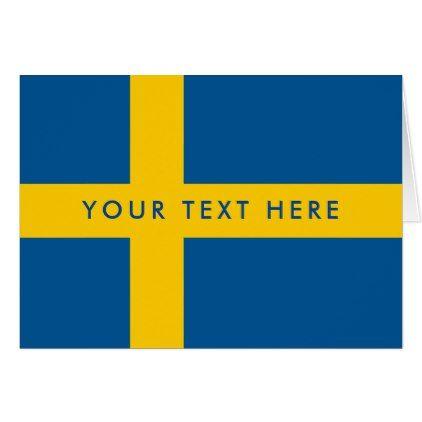 Swedish Flag Custom Greeting Card For Sweden