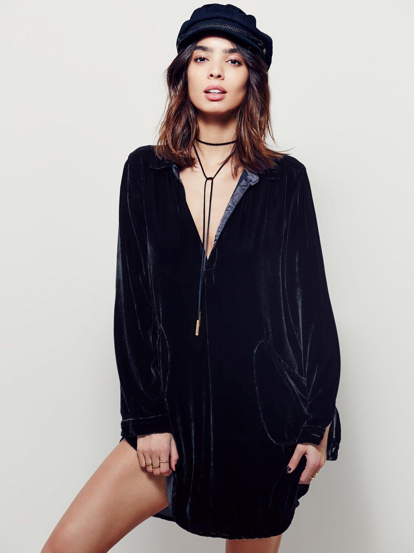 Comfort velvet shirt long-sleeved dress 3 colors in 2018  9e9278085