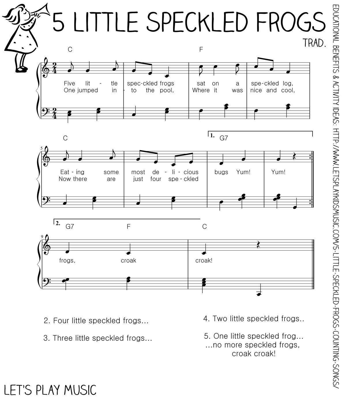 5 Little Speckled Frogs Counting Songs Free Sheet Music Sheet Music And Frogs