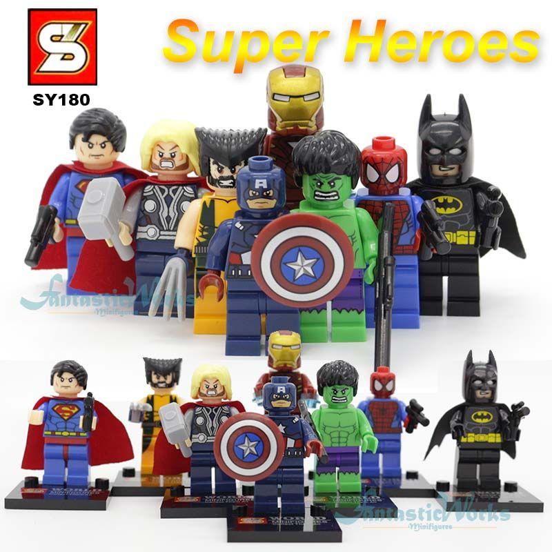 Marvel & DC SY180 Super Heroes Figuras de Acción de Los Vengadores Superman Batman Ironman spiderman Capitán América hulk Thor Wolverine