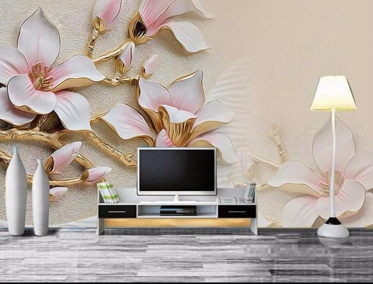 3d Wallpaper Living Room Mural Roll Modern Background Magnolia Bloom Large Photo Ubranded 3d Wallpaper Living Room Wallpaper Living Room Living Room Murals