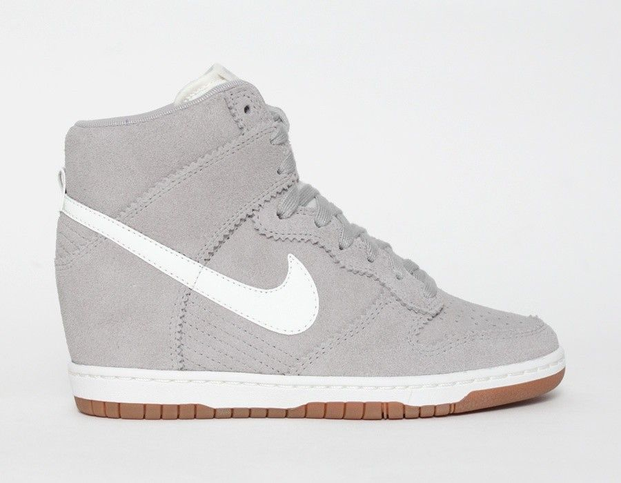 quality design b13c4 fb4ee Nike Dunk Sky High Suede Grey White Gum Womens Wedge Sneakers- size 5.5