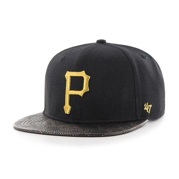 timeless design 3c96d 42cb3 Pittsburgh Pirates Constrictor Metallic Captain Black 47 Brand Adjustable  Hat
