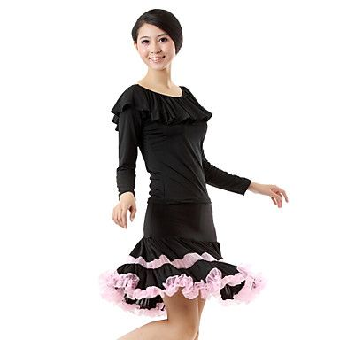 Ballroom Elegant Dancewear Viscose Latin Dance Outfit Top and Bottom More Colors – USD $ 34.99