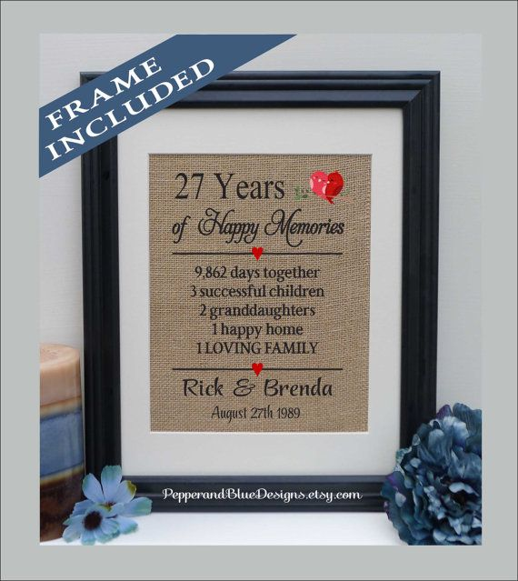 27th Wedding Anniversary 27 Years Married By Pepperandbluedesigns