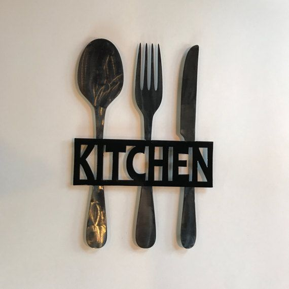 Kitchen Metal Sign Knife Fork And Spoon Wall Decor Metal Kitchen Decor Themes Kitchen Wall Decor Kitchen Signs