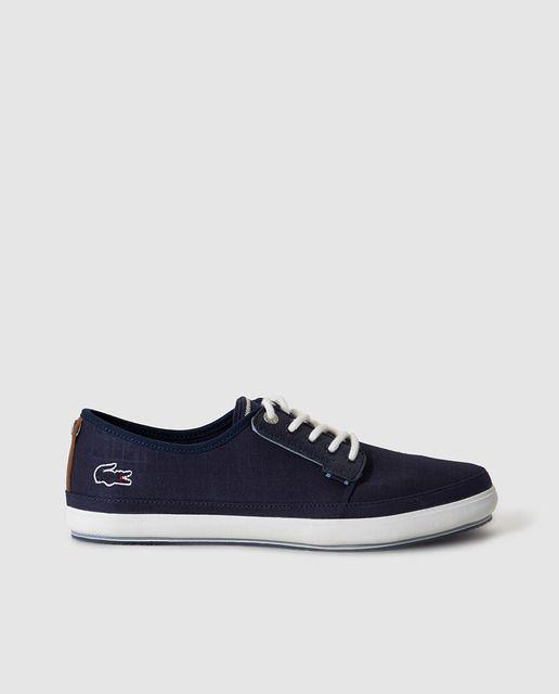 7e39ecb0c09 Zapatillas de lona de hombre Lacoste azules con logo