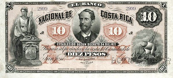 Image result for billete de 10 pesos, banco nacional de costa rica, 1877
