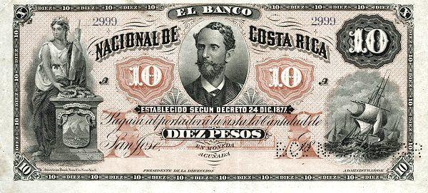 Image result for billete de 10 pesos, banco nacional de costa rica, 1877