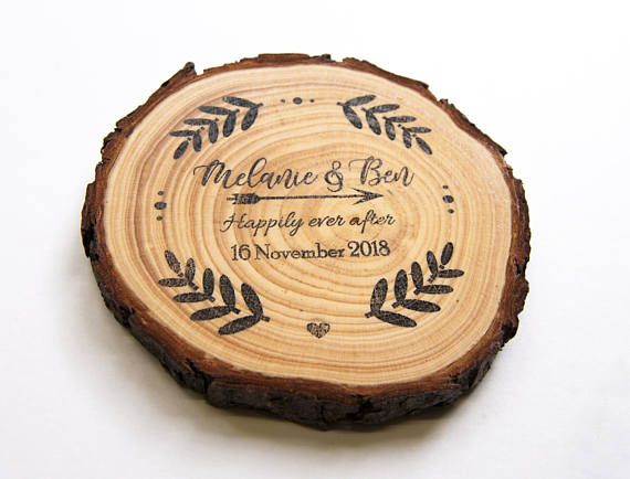 Wood Slice Wedding Favor Magnets Personalized Country Unique Favours Creative Favour