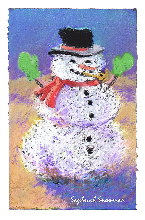 Pastel - Sagebrush Snowman With Green Mittens by Mary Helmreich #affiliate , #SPONSORED, #Aff, #Snowman, #Green, #Helmreich, #Sagebrush