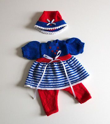 """LOVELY HAND KNITTED DOLLS DRESS CLOTHES SET 18""""-19"""" DOLL REBORN ANNABELL Etc"""