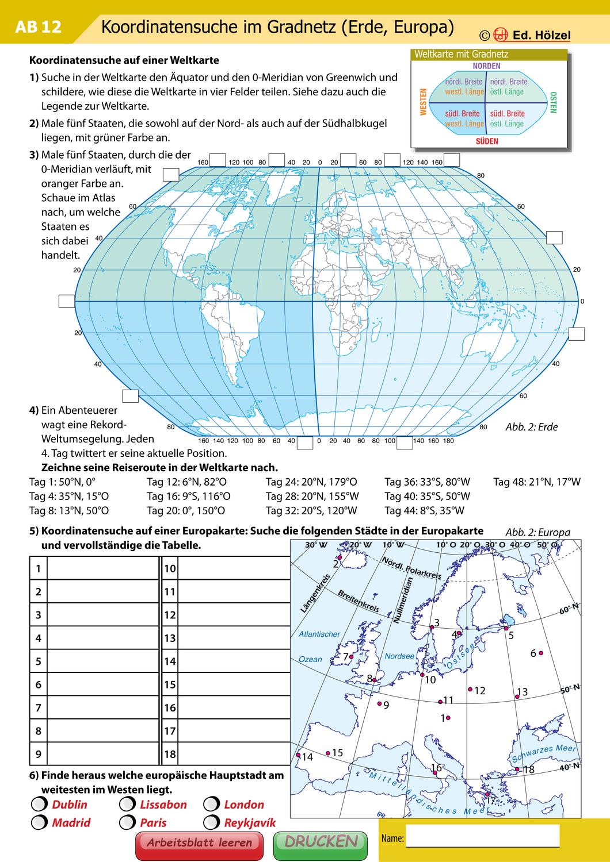 Koordinatensuche Im Gradnetz Erde Europa Unterrichtsmaterial Im Fach Erdkunde Geographie Unterrichten Erdkunde Gradnetz Der Erde