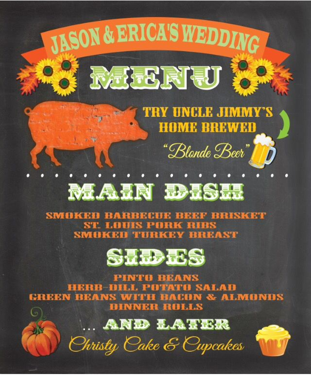 Bbq Wedding Reception Food Ideas: Wedding Dinner Menu Made By #mcbooboos On Etsy