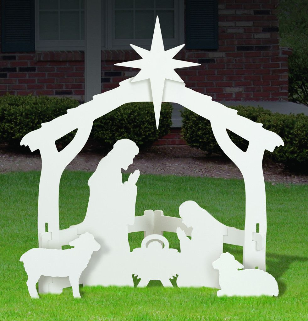 Medium White Outdoor Nativity Display Outdoor Nativity Scene Outdoor Christmas Nativity Scene Display