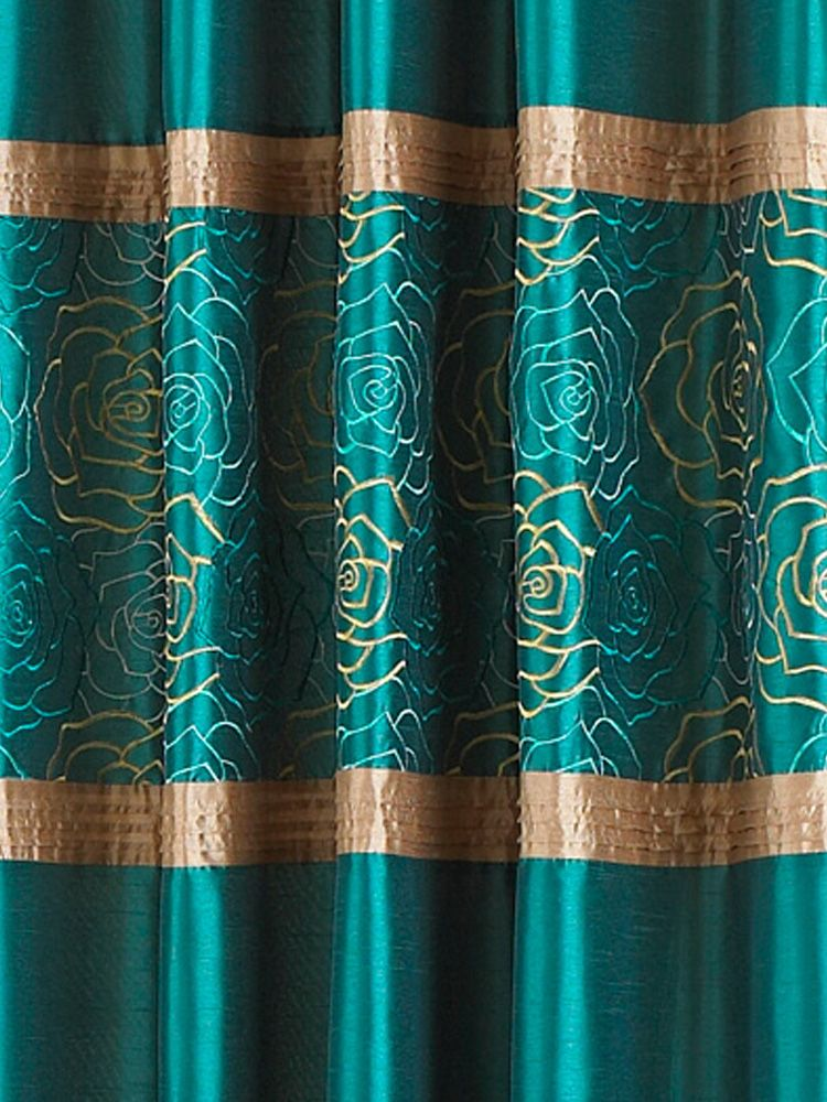 Teal Green And Gold Curtain