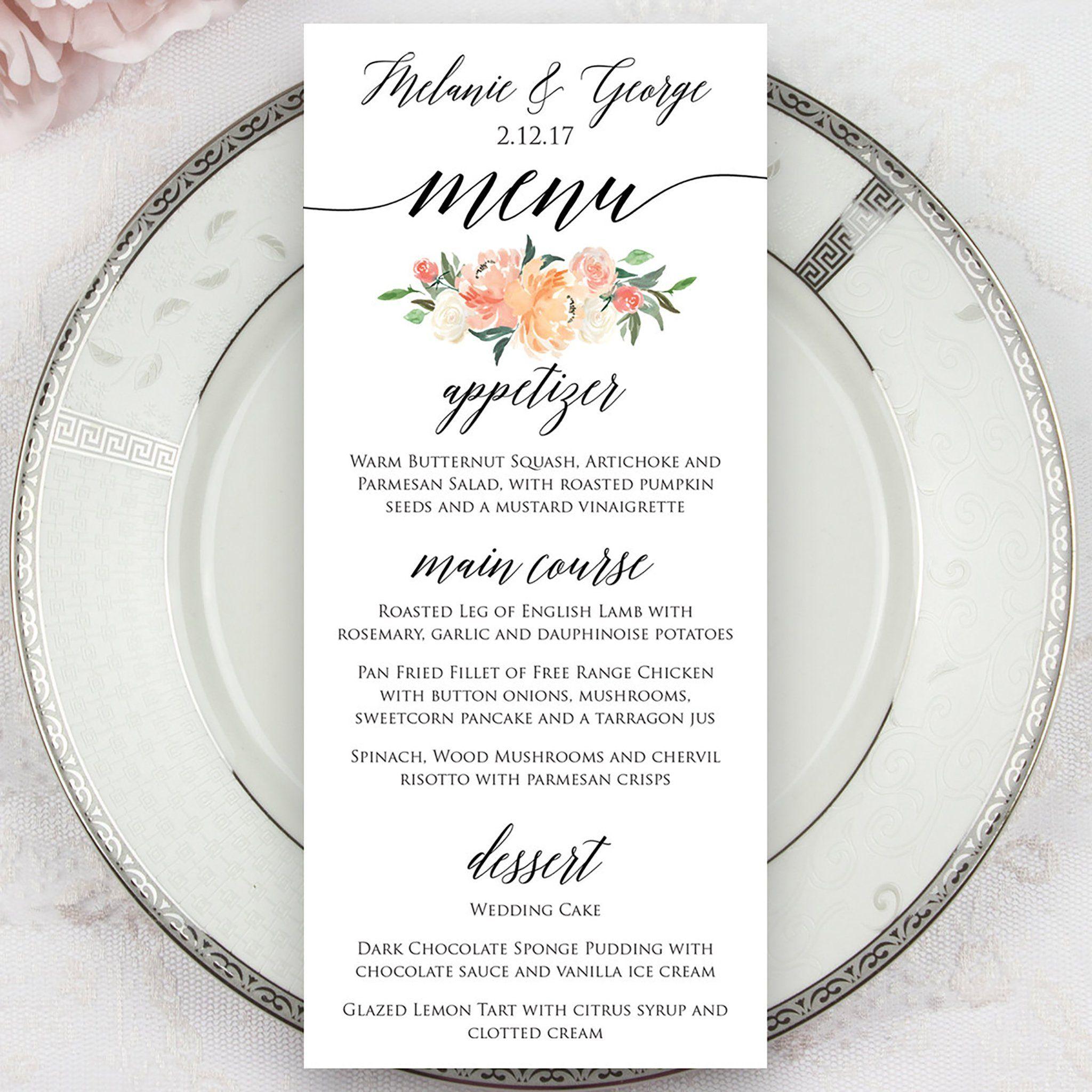 Wedding Menus Garden Party Wedding dinner menu